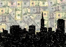 Grunge San Francisco skyline with dollars Stock Photography
