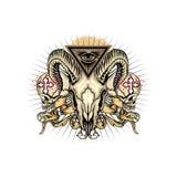 grunge schedelwapenschild royalty-vrije illustratie