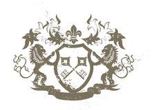 Grunge Schild mit Löwen und Fleur-de-lis Lizenzfreies Stockfoto