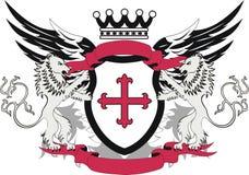 Grunge Schild mit queremflory und Löwen Lizenzfreies Stockfoto