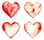 Grunge schilderde rode geplaatste hartvormen Royalty-vrije Stock Foto