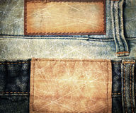 Grunge scratched leather jeans label Stock Images