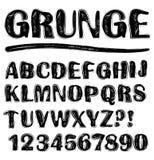 Grunge scratchy uppercase black and white alphabet set Royalty Free Stock Image