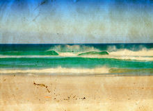 Grunge sea illustration. Sea waves and blue sky in on grunge paper texture Royalty Free Stock Image