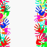 Grunge seamless frame from prints of hands. Vector. Illustration Stock Photo