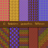 Grunge Seamless Geometric Patterns Set. 10 Grunge Seamless Geometric Patterns Set Stock Illustration
