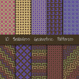 Grunge Seamless Geometric Patterns Set. Stock Photo