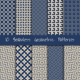 Grunge Seamless Geometric Patterns Set. Royalty Free Stock Photos