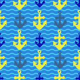 Grunge seamless pattern with anchor imprints. Grunge seamless pattern. Colorful background with anchor imprints.Tile texture with stamps of the ship equipment Stock Images