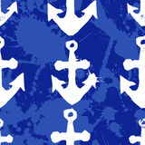 Grunge seamless pattern with anchor imprints. Grunge seamless pattern. Colorful background with anchor imprints.Tile texture with stamps of the ship equipment Stock Image