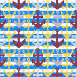 Grunge seamless pattern with anchor imprints. Grunge seamless pattern. Colorful background with anchor imprints.Tile texture with stamps of the ship equipment Stock Photography
