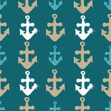 Grunge seamless pattern with anchors. Grunge seamless pattern. Colorful background with anchor imprints.Tile texture with stamps of the ship equipment. Template Stock Photography