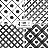Grunge seamless pattern of black white diagonal stripes and circle. Seamless background grunge lines and points, hand painted vector pattern for textile Royalty Free Stock Photography
