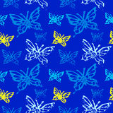Grunge seamless pattern with butterflys. Grunge seamless pattern. Colorful background with butterfly imprints.Tile texture with stamps of the bugs. Template for Royalty Free Stock Images