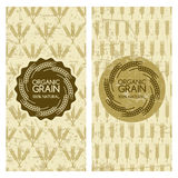 Set of organic wheat grain backgrounds. Grunge seamless pattern with cereals.  Royalty Free Stock Photography