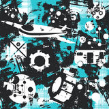 Grunge seamless pattern. Concept of transport. Vector. Illustration Stock Photography