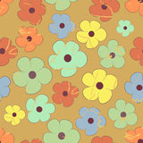 Grunge seamless pattern of flowers Royalty Free Stock Image