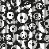 Grunge seamless pattern with funny faces. Vector Stock Photo