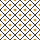 Grunge seamless pattern of gold and black cage, circle Stock Photo