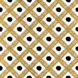 Grunge seamless pattern of gold black diagonal stripes and circle Royalty Free Stock Photo