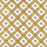 Grunge seamless pattern of gold silver diagonal stripes and circle. Seamless golden silver background lines, points, cage, hand drawn vector pattern for Stock Photos