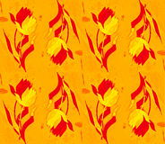 Grunge seamless pattern with hand drawn tulips. Royalty Free Stock Images