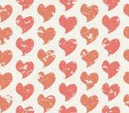 Grunge seamless pattern with handdrawing hearts. Vector illustration Royalty Free Stock Image