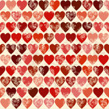 Grunge  seamless pattern with hearts. Stock Photo
