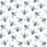 Grunge seamless pattern with insects. Vector Royalty Free Stock Image