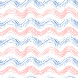 Grunge seamless pattern of rose quartz and serenity wave. Hand painted grunge vector background pink and blue wavy stripes for textile, wallpaper, web Royalty Free Stock Photography