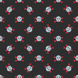 Grunge seamless pattern with skulls vector illustration human bone horror art dead face skeleton. Stock Images