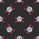 Grunge seamless pattern with skulls vector illustration human bone horror art dead skeleton. Stock Image