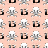 Grunge seamless pattern with skulls vector illustration human bone horror art dead skeleton. Royalty Free Stock Photo