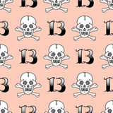 Grunge seamless pattern with skulls vector illustration human bone horror art dead skeleton. Royalty Free Stock Photography