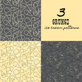 3 grunge seamless vector patterns with ice cream cons Stock Photography