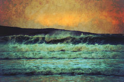 Grunge seascape of wild sea at sunset Stock Photo