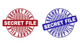 Grunge SECRET FILE Textured Round Watermarks. Grunge SECRET FILE round stamp seals isolated on a white background. Round seals with grunge texture in red and stock illustration
