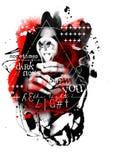 Grunge sem medo da polca do lixo da arte digital da escuridão ilustração do vetor