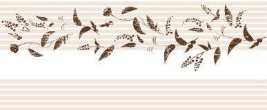 Grunge Sepia-Blumenelement auf gestreiftem Hintergrund. Lizenzfreie Stockfotos