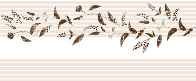 Grunge sepia floral element on striped background. Royalty Free Stock Photos