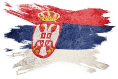 Grunge Serbian flag. Serbia flag with grunge texture. Brush stroke. Brush stroke Flag royalty free stock photography
