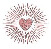 Grunge serce z promieniami ilustracja wektor