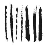 Grunge set of different strokes. Abstract brush. Seven elements. Royalty Free Stock Photos
