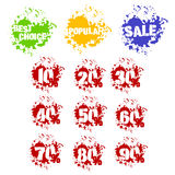 Grunge set of dozen of sale stickers in splashes. Grunge dozens sale percents with splashes icon set. Decades of numbers in spatters from 10 to 90 percent, also Stock Photos