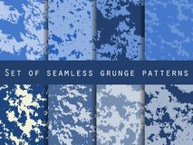 Grunge set of seamless pattern with clots and strokes. Marbled paper watercolor. For wallpaper, bed linen. Tiles, fabrics, backgrounds. Vector illustration stock illustration