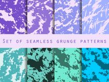 Grunge set of seamless pattern with clots and strokes. Marbled paper watercolor. For wallpaper, bed linen, tiles, fabrics. Backgrounds. Vector illustration royalty free illustration