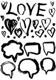 Grunge set of speech bubbles and hearts. grungy decoration effects. Stock Photo