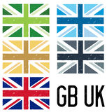 Grunge set of UK flags Royalty Free Stock Photo