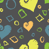 Grunge Shapes Pattern. A seamless pattern of bright, grungy shapes and hearts on a dark grey background Vector Illustration