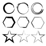 Grunge shapes. Star, circle, hexagon. Set of Hand Drawn , vector design elements Stock Photography